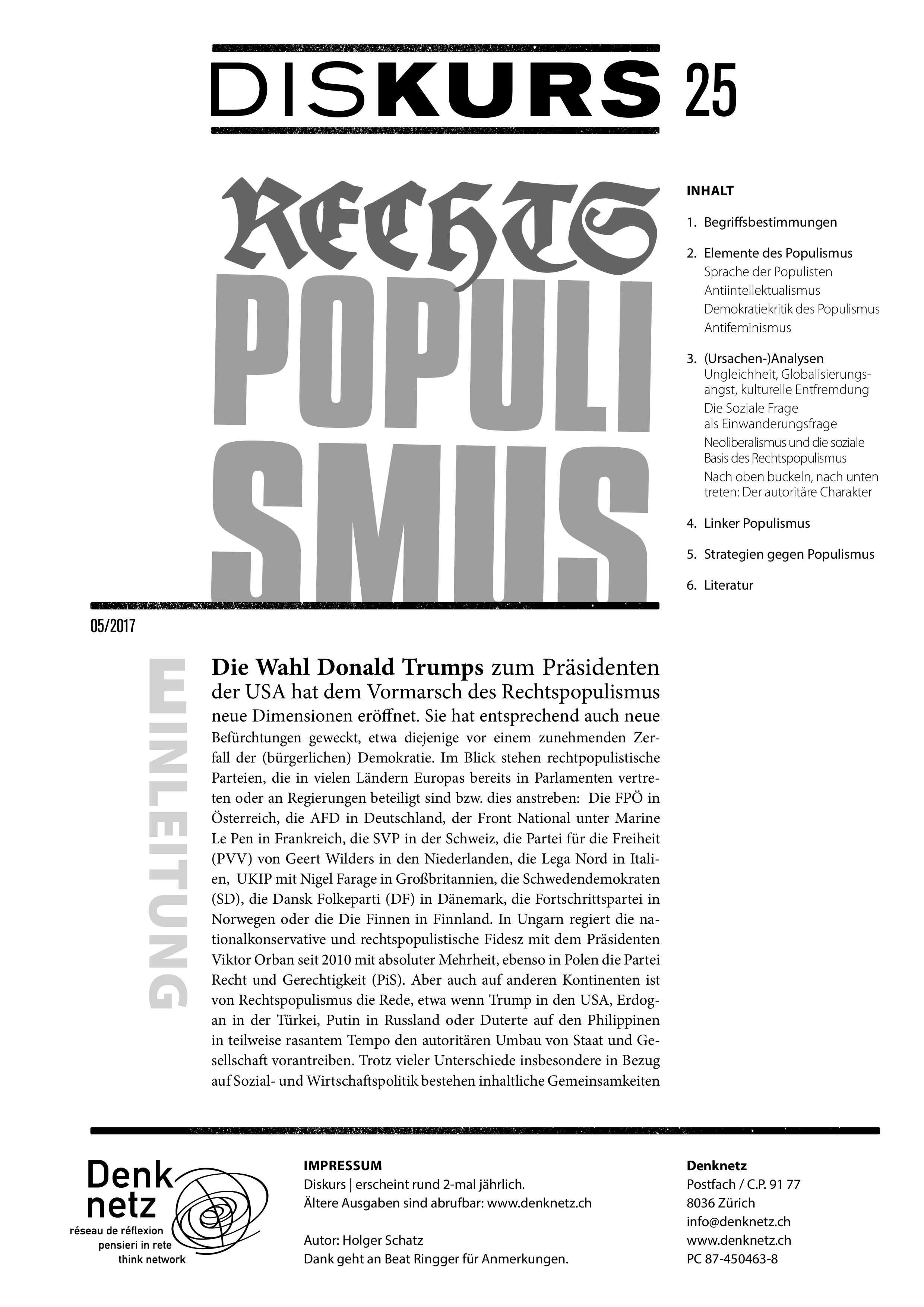 sprache rechtspopulismus publikationen